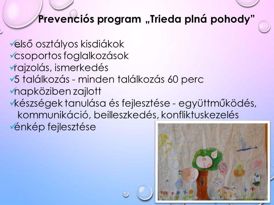 """Prevenciós program """"Trieda plná pohody"""" első osztályos kisdiákok csoportos foglalkozások rajzolás, ismerkedés 5 találkozás - minden találkozás 60 perc"""