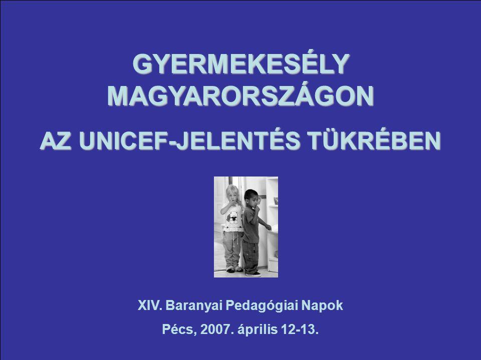 GYERMEKESÉLY MAGYARORSZÁGON AZ UNICEF-JELENTÉS TÜKRÉBEN XIV.