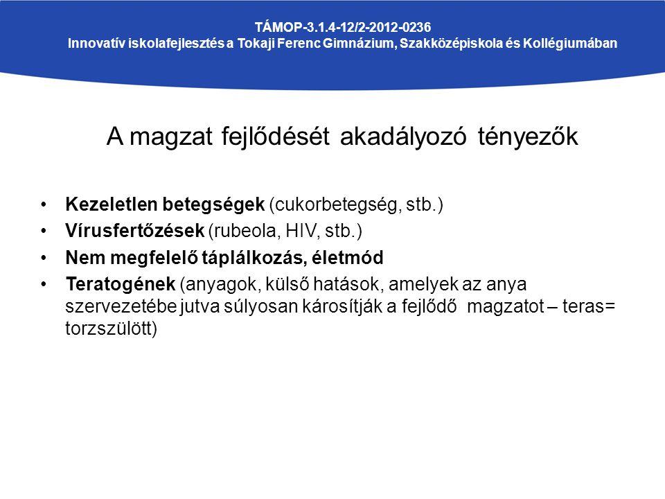 A magzat fejlődését akadályozó tényezők Kezeletlen betegségek (cukorbetegség, stb.) Vírusfertőzések (rubeola, HIV, stb.) Nem megfelelő táplálkozás, életmód Teratogének (anyagok, külső hatások, amelyek az anya szervezetébe jutva súlyosan károsítják a fejlődő magzatot – teras= torzszülött) TÁMOP-3.1.4-12/2-2012-0236 Innovatív iskolafejlesztés a Tokaji Ferenc Gimnázium, Szakközépiskola és Kollégiumában