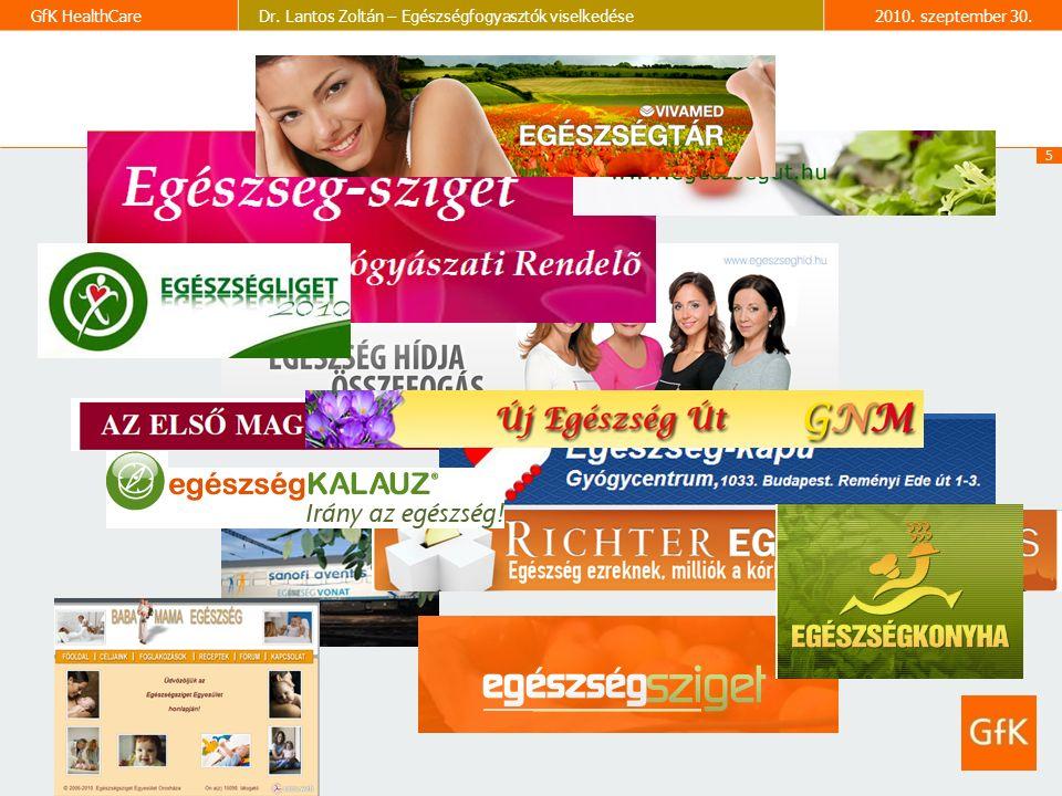 5 GfK HealthCareDr. Lantos Zoltán – Egészségfogyasztók viselkedése2010. szeptember 30.