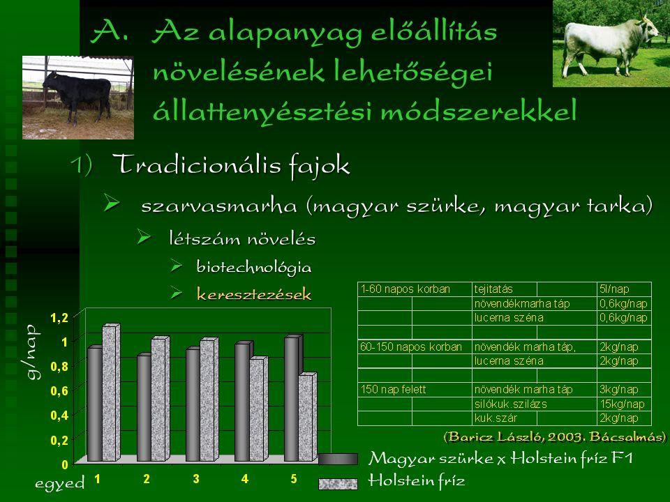 A. Az alapanyag előállítás növelésének lehetőségei állattenyésztési módszerekkel  Tradicionális fajok  szarvasmarha (magyar szürke, magyar tarka) 