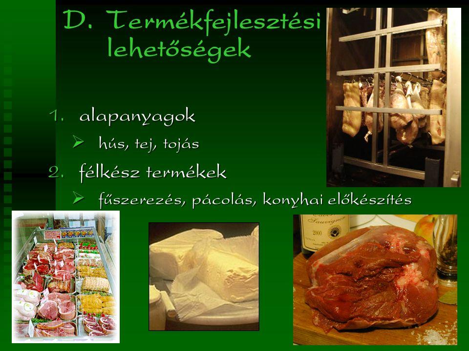 D. Termékfejlesztési lehetőségek  alapanyagok  hús, tej, tojás  félkész termékek  fűszerezés, pácolás, konyhai előkészítés