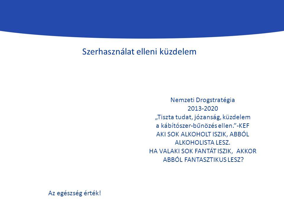 """Szerhasználat elleni küzdelem Nemzeti Drogstratégia 2013-2020 """"Tiszta tudat, józanság, küzdelem a kábítószer-bűnözés ellen. -KEF AKI SOK ALKOHOLT ISZIK, ABBÓL ALKOHOLISTA LESZ."""