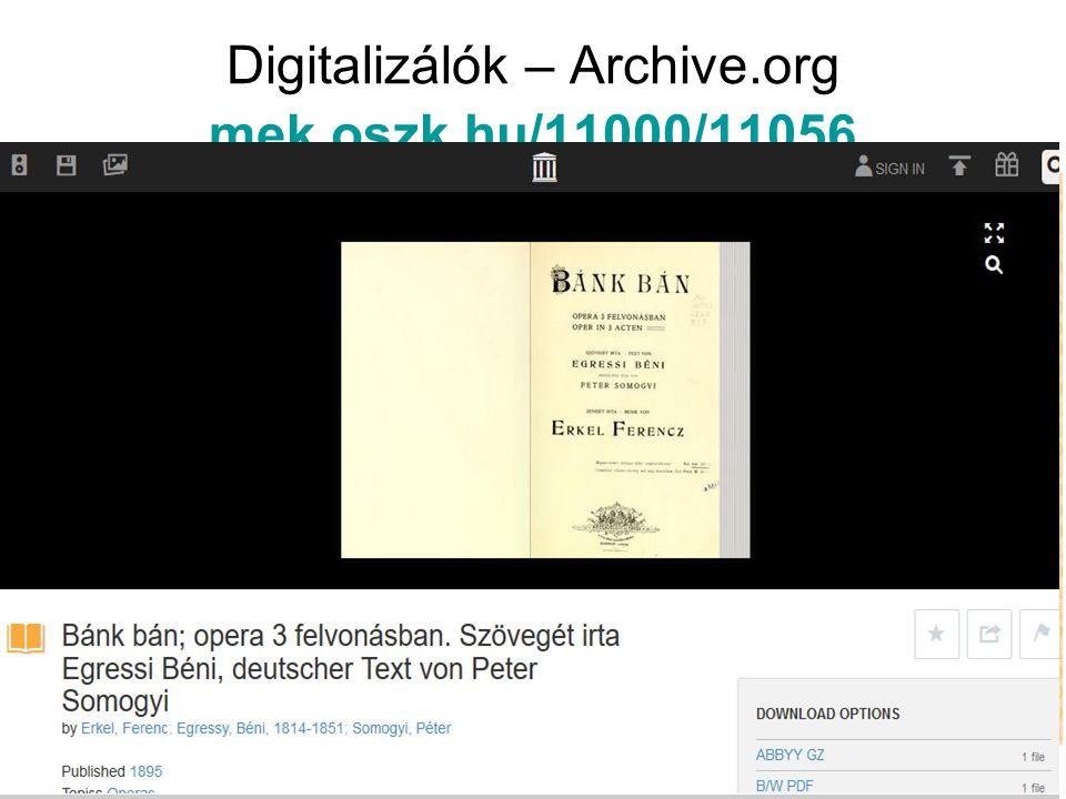 Digitalizálók – Archive.org mek.oszk.hu/11000/11056 mek.oszk.hu/11000/11056
