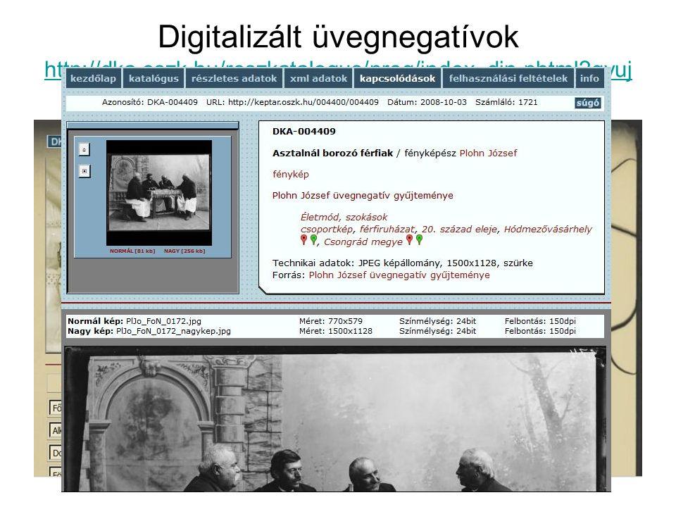 Digitalizált üvegnegatívok http://dka.oszk.hu/reszkatalogus/prog/index_din.phtml?gyuj temeny=PLOHNUVEG http://dka.oszk.hu/reszkatalogus/prog/index_din.phtml?gyuj temeny=PLOHNUVEG