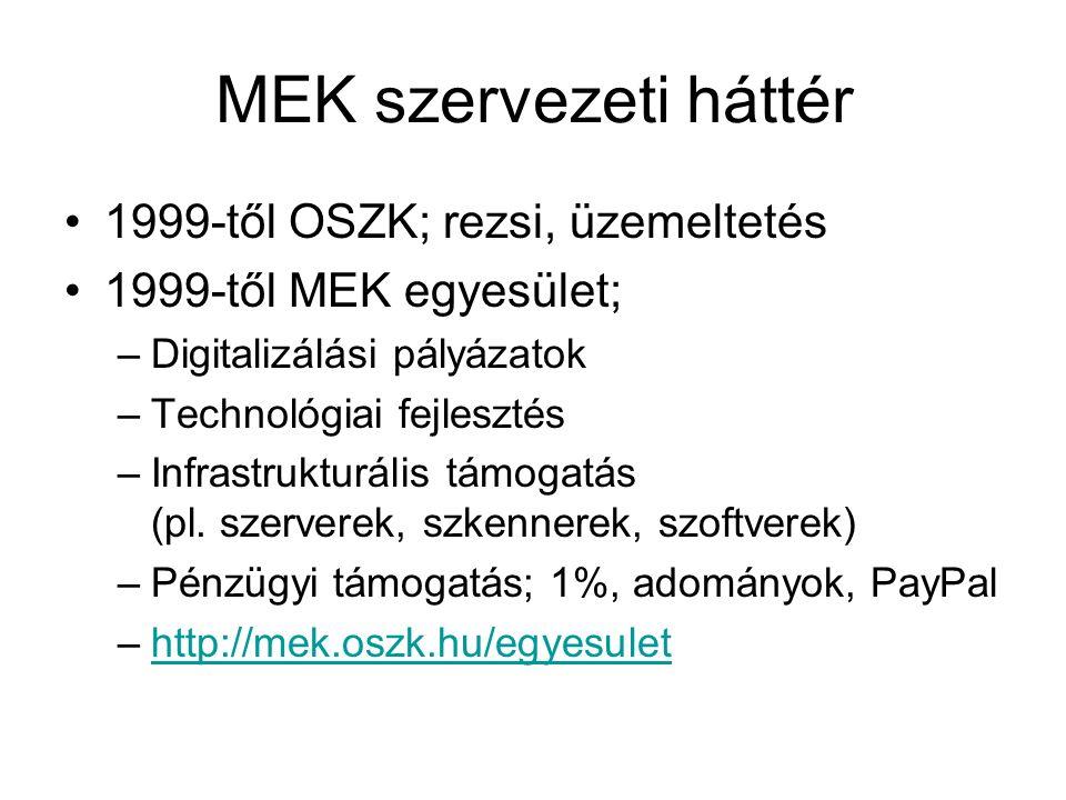 MEK szolgáltatás http://mek.oszk.hu 2003-tólhttp://mek.oszk.hu http://vmek.oszk.hu egyszerűsített (akadálymentes)http://vmek.oszk.hu http://m.mek.oszk.hu mobil felülethttp://m.mek.oszk.hu –Mobil kliensek: Android, iPhone, Windows Phone –http://mek.oszk.hu/html/mobil.htmlhttp://mek.oszk.hu/html/mobil.html –EPUB, PRC formátumok Tükörszerverek –http://mek.niif.huhttp://mek.niif.hu –http://mek-oszk.uz.uahttp://mek-oszk.uz.ua –http://www.mek.skhttp://www.mek.sk
