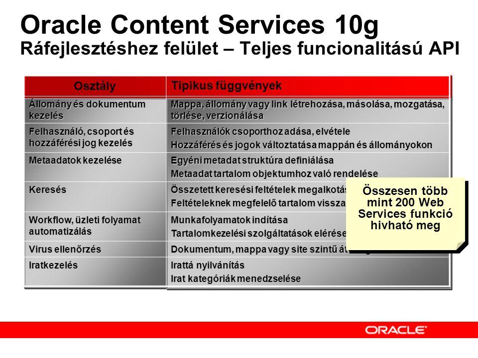 Oracle Content Services 10g Ráfejlesztéshez felület – Teljes funcionalitású API Osztály Tipikus függvények Állomány és dokumentum kezelés Mappa, állomány vagy link létrehozása, másolása, mozgatása, törlése, verzionálása Felhasználó, csoport és hozzáférési jog kezelés Felhasználók csoporthoz adása, elvétele Hozzáférés és jogok változtatása mappán és állományokon Metaadatok kezelése Egyéni metadat struktúra definiálása Metaadat tartalom objektumhoz való rendelése Keresés Összetett keresési feltételek megalkotása Feltételeknek megfelelő tartalom visszaadása Workflow, üzleti folyamat automatizálás Munkafolyamatok indítása Tartalomkezelési szolgáltatások elérése munkafolyamatokból Virus ellenőrzés Dokumentum, mappa vagy site szintű átvizsgálás Iratkezelés Irattá nyilvánítás Irat kategóriák menedzselése Összesen több mint 200 Web Services funkció hivható meg
