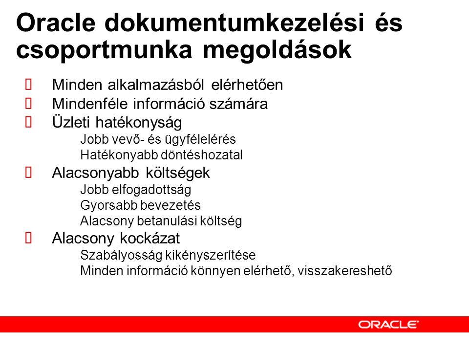 Oracle dokumentumkezelési és csoportmunka megoldások  Minden alkalmazásból elérhetően  Mindenféle információ számára  Üzleti hatékonyság – Jobb vevő- és ügyfélelérés – Hatékonyabb döntéshozatal  Alacsonyabb költségek – Jobb elfogadottság – Gyorsabb bevezetés – Alacsony betanulási költség  Alacsony kockázat – Szabályosság kikényszerítése – Minden információ könnyen elérhető, visszakereshető