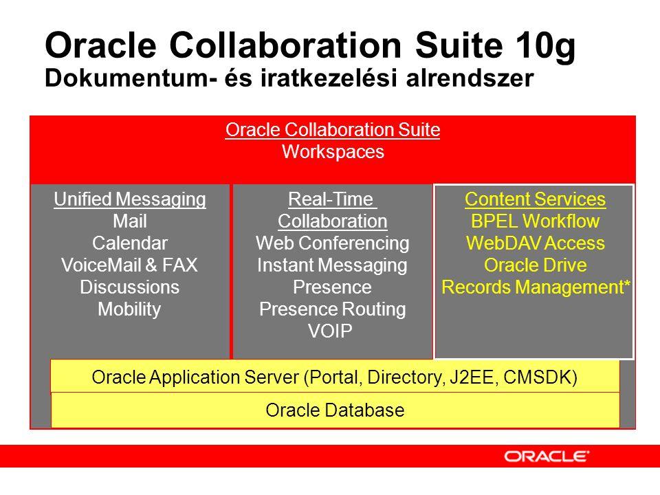 Oracle Content Services 10g Ideális háttér infrastruktúra Valódi, intézményi szintű skálázhatóság (Scalable Technology, Manageability, Enterprise-Appropriate Pricing, and Costs, Usability) Tartalomkezelési képességek ( Access and Content Security, Content Classification, Policy-Based Process Mgmt ) Egyszerű állomány szerverek  Egyedi fejlesztésű termékek  Storage alapú megoldások (SAN, NAS, etc.)  Okosabb állomány szerverek  Oracle Content Services  Flexibilis, általános, sok megoldásban jól használható, igen olcsó
