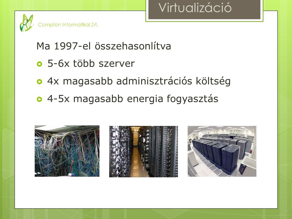 Ma 1997-el összehasonlítva  5-6x több szerver  4x magasabb adminisztrációs költség  4-5x magasabb energia fogyasztás Virtualizáció Compton Informatikai Zrt.