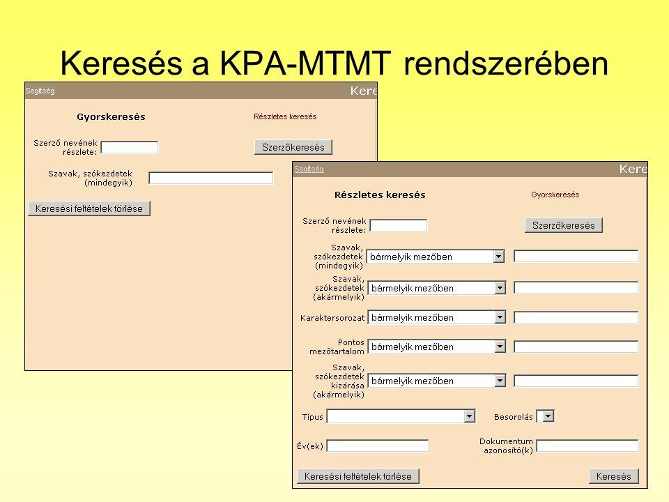 Keresés a KPA-MTMT rendszerében