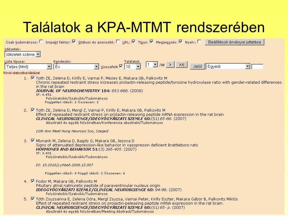 Találatok a KPA-MTMT rendszerében