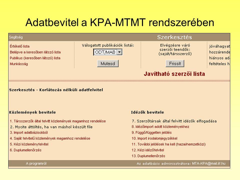 Adatbevitel a KPA-MTMT rendszerében