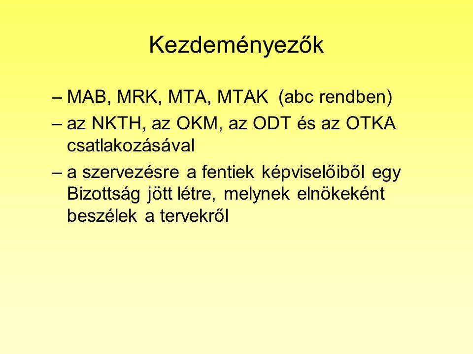 Kezdeményezők –MAB, MRK, MTA, MTAK (abc rendben) –az NKTH, az OKM, az ODT és az OTKA csatlakozásával –a szervezésre a fentiek képviselőiből egy Bizottság jött létre, melynek elnökeként beszélek a tervekről