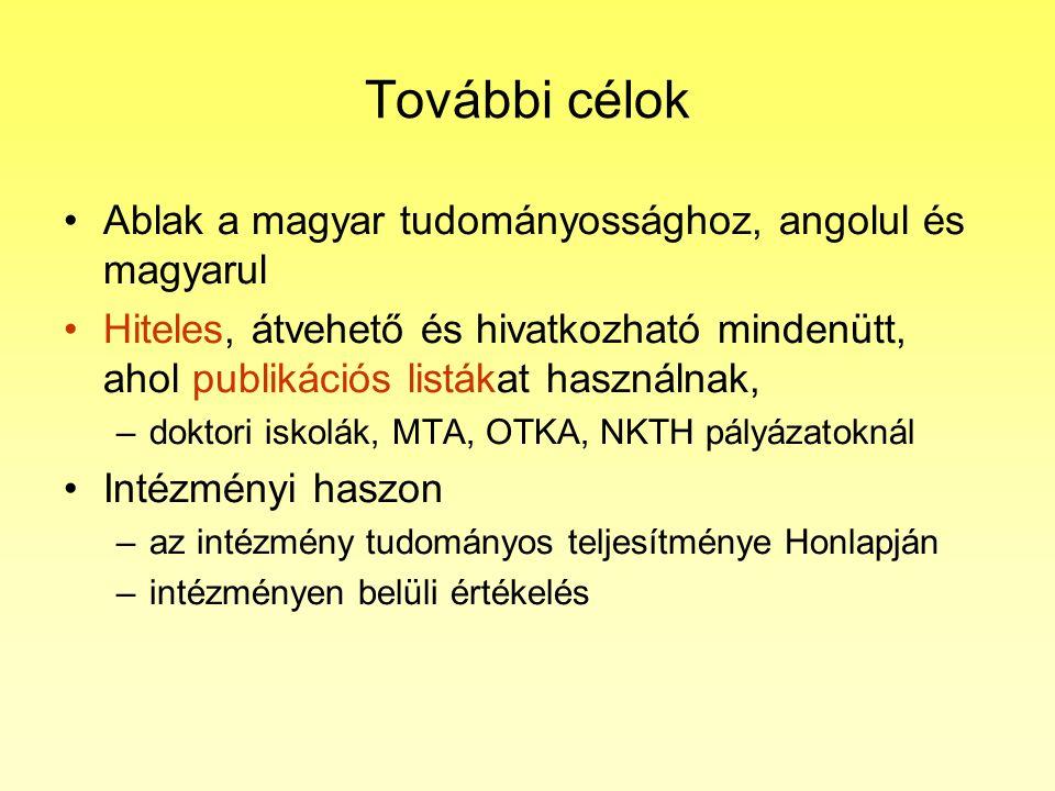 További célok Ablak a magyar tudományossághoz, angolul és magyarul Hiteles, átvehető és hivatkozható mindenütt, ahol publikációs listákat használnak, –doktori iskolák, MTA, OTKA, NKTH pályázatoknál Intézményi haszon –az intézmény tudományos teljesítménye Honlapján –intézményen belüli értékelés