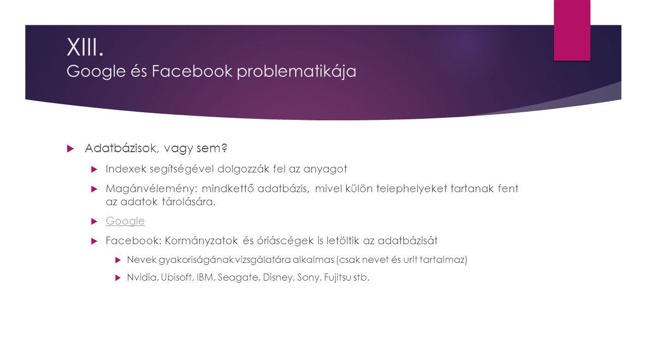XIII. Google és Facebook problematikája  Adatbázisok, vagy sem.