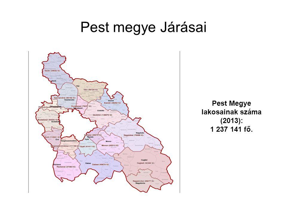 Pest megye Járásai Pest Megye lakosainak száma (2013): 1 237 141 fő.