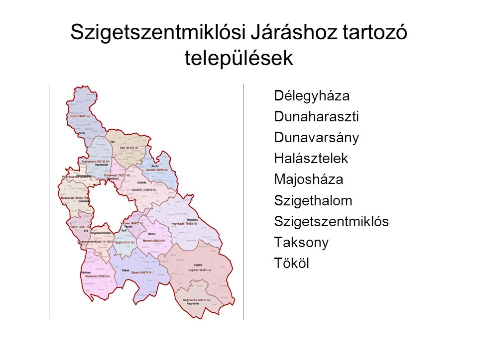 A ráckevei kirendeltség illetékességi területéhez tartozó települések népességre vonatkozó statisztikái TelepülésRangNépesség Munkav.Korú népesség (2013.03.) Regisztrált álláskereső (2013.03.) Relatív mutató (%) Apajközség1251854455,27 Áporkaközség1155768324,17 Délegyházaközség31872395943,92 Dömsödnagyközség5745393840810,36 Dunaharasztiváros19491133054933,71 Dunavarsányváros711249822164,34 Halásztelekváros862062042203,55 Kiskunlacházanagyközség908058844277,26 Lórévközség315202199,41 Majosházaközség14861005676,67 Makádközség12527978310,41 Ráckeveváros984264365147,99 Szigetbecseközség1346910596,48 Szigetcsépközség23541535956,19 Szigethalomváros16477119095264,42 Szigetszentmártonközség20831425775,4 Szigetszentmiklósváros323402380010124,25 Szigetújfaluközség20871360765,59 Taksonynagyközség636941721513,62 Tökölváros101646966765,59