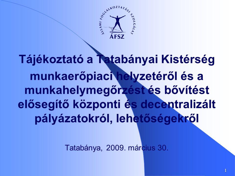 1 Tájékoztató a Tatabányai Kistérség munkaerőpiaci helyzetéről és a munkahelymegőrzést és bővítést elősegítő központi és decentralizált pályázatokról, lehetőségekről Tatabánya, 2009.