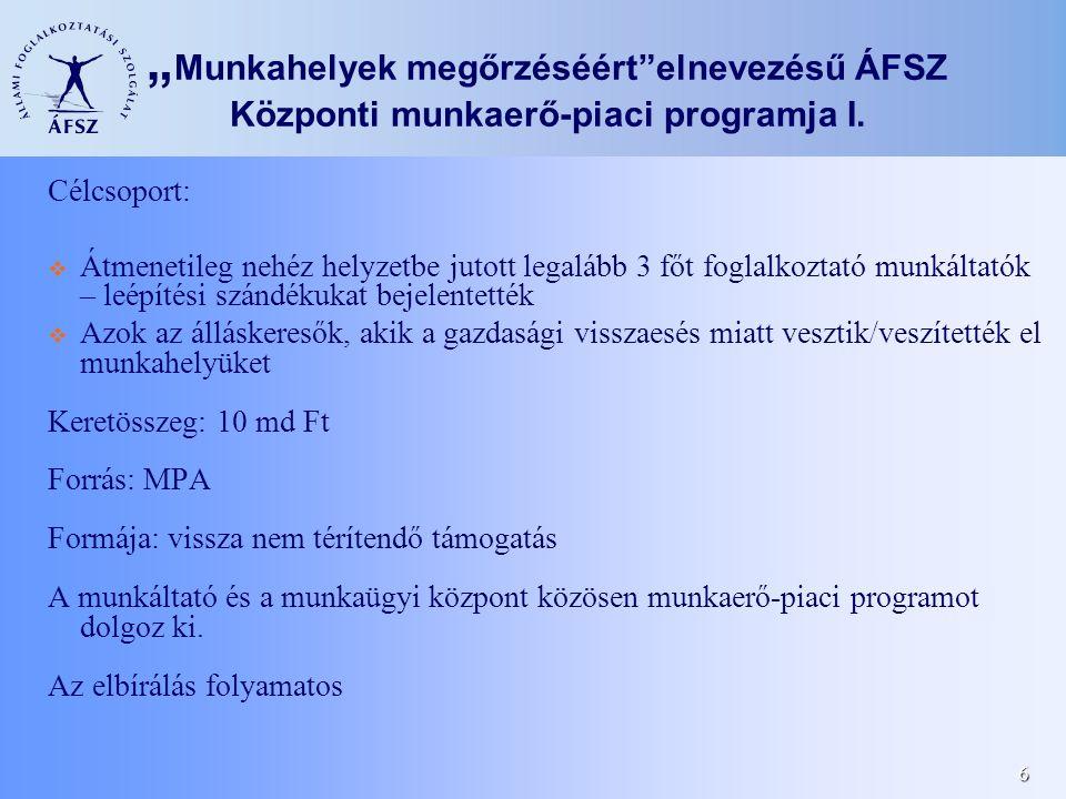 """6 """" Munkahelyek megőrzéséért""""elnevezésű ÁFSZ Központi munkaerő-piaci programja I. Célcsoport:  Átmenetileg nehéz helyzetbe jutott legalább 3 főt fogl"""
