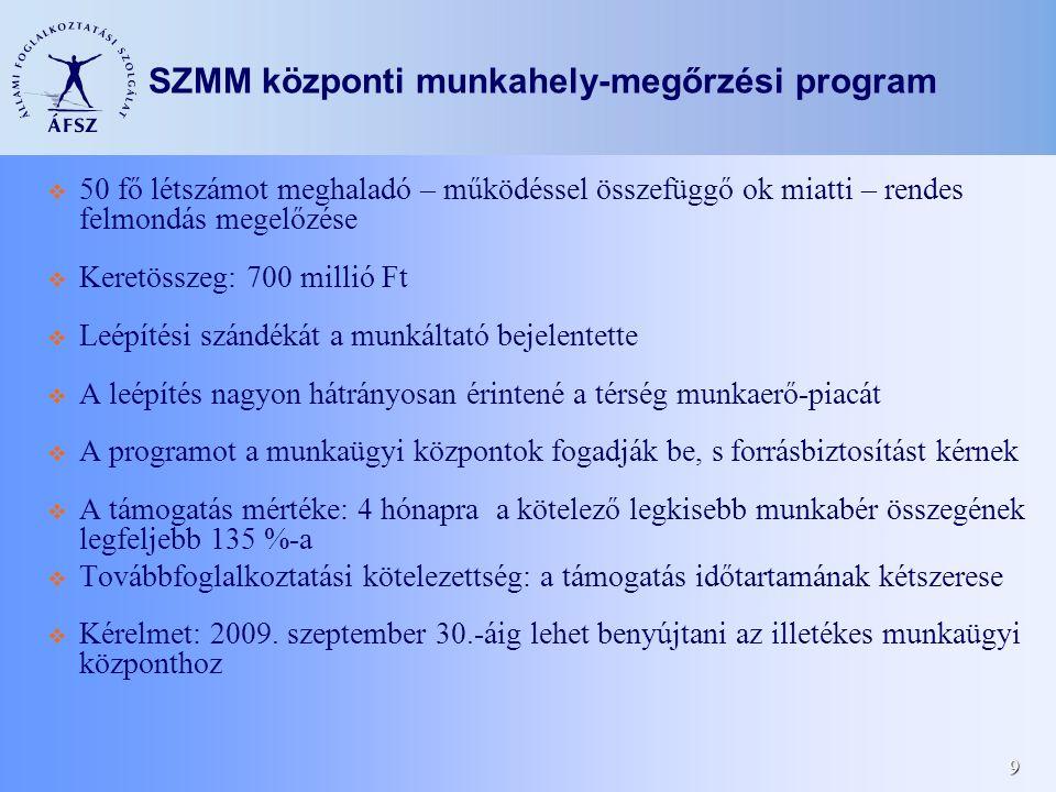9 SZMM központi munkahely-megőrzési program  50 fő létszámot meghaladó – működéssel összefüggő ok miatti – rendes felmondás megelőzése  Keretösszeg: 700 millió Ft  Leépítési szándékát a munkáltató bejelentette  A leépítés nagyon hátrányosan érintené a térség munkaerő-piacát  A programot a munkaügyi központok fogadják be, s forrásbiztosítást kérnek  A támogatás mértéke: 4 hónapra a kötelező legkisebb munkabér összegének legfeljebb 135 %-a  Továbbfoglalkoztatási kötelezettség: a támogatás időtartamának kétszerese  Kérelmet: 2009.
