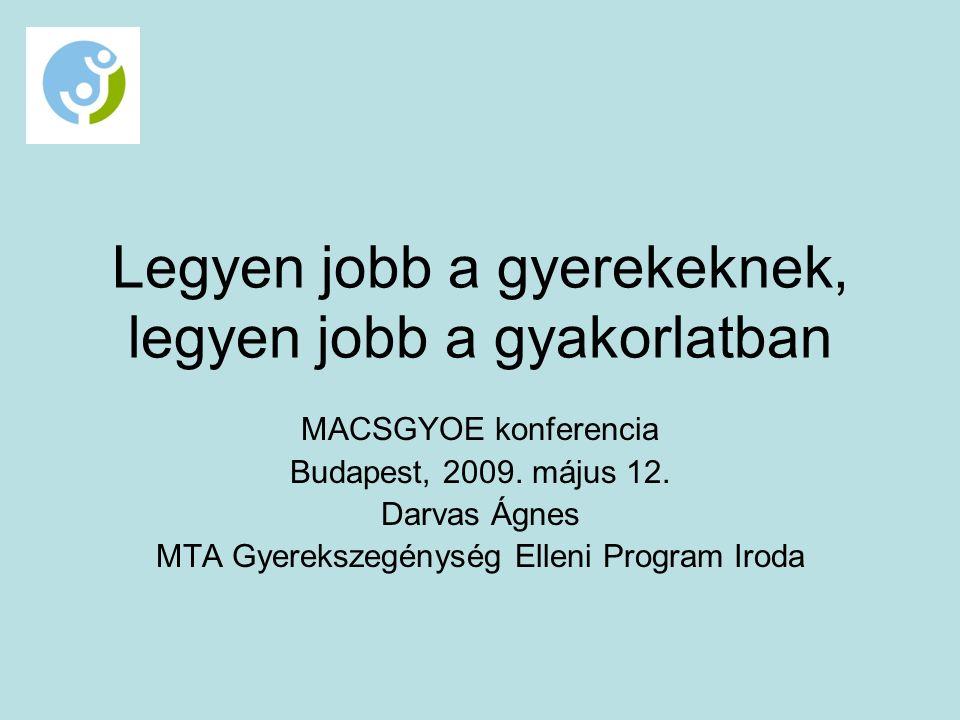 Legyen jobb a gyerekeknek, legyen jobb a gyakorlatban MACSGYOE konferencia Budapest, 2009.