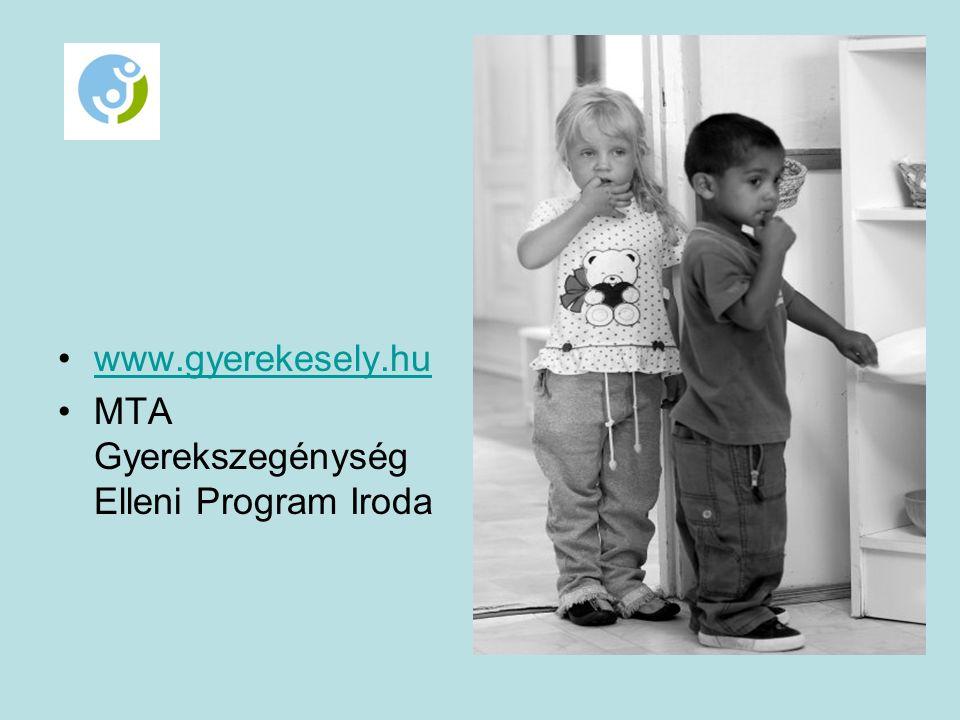 www.gyerekesely.hu MTA Gyerekszegénység Elleni Program Iroda
