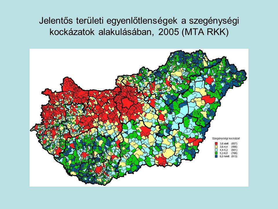 Jelentős területi egyenlőtlenségek a szegénységi kockázatok alakulásában, 2005 (MTA RKK)