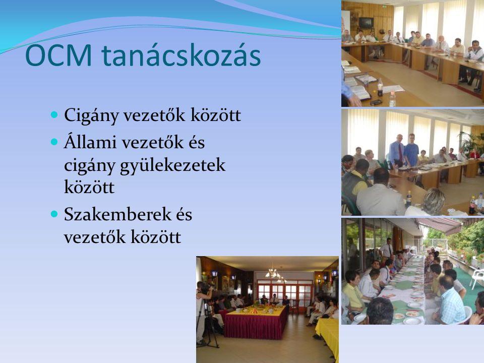 OCM tanácskozás Cigány vezetők között Állami vezetők és cigány gyülekezetek között Szakemberek és vezetők között