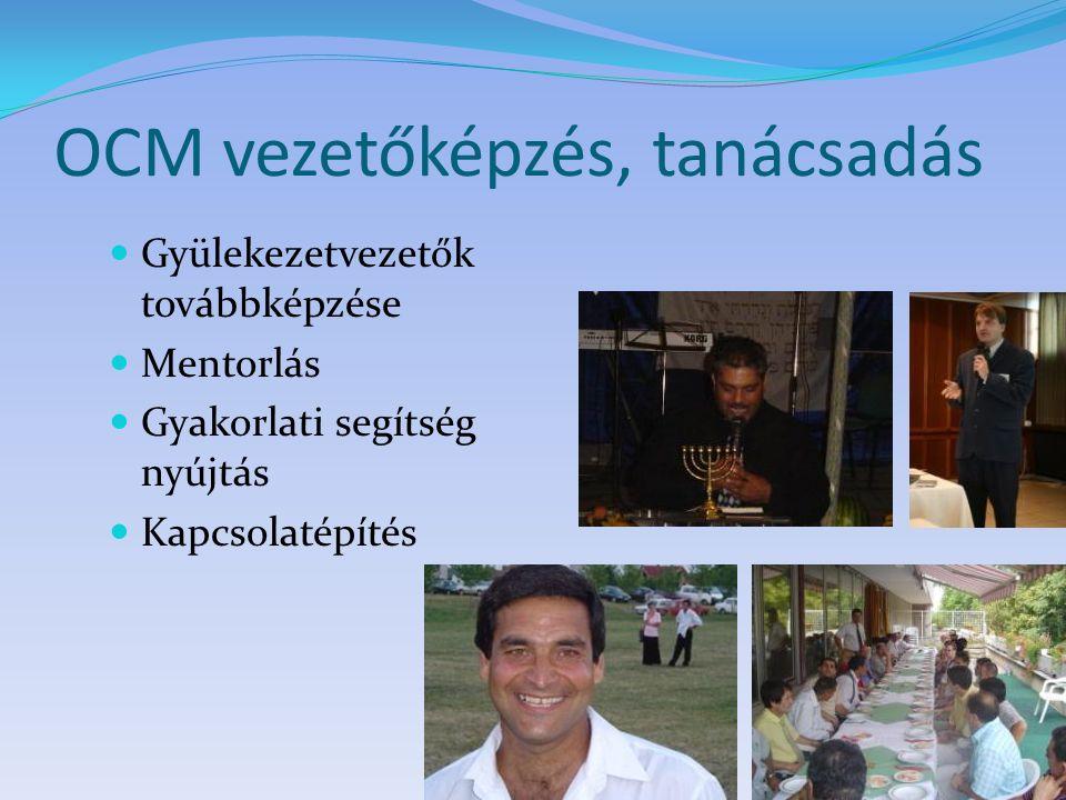 OCM vezetőképzés, tanácsadás Gyülekezetvezetők továbbképzése Mentorlás Gyakorlati segítség nyújtás Kapcsolatépítés