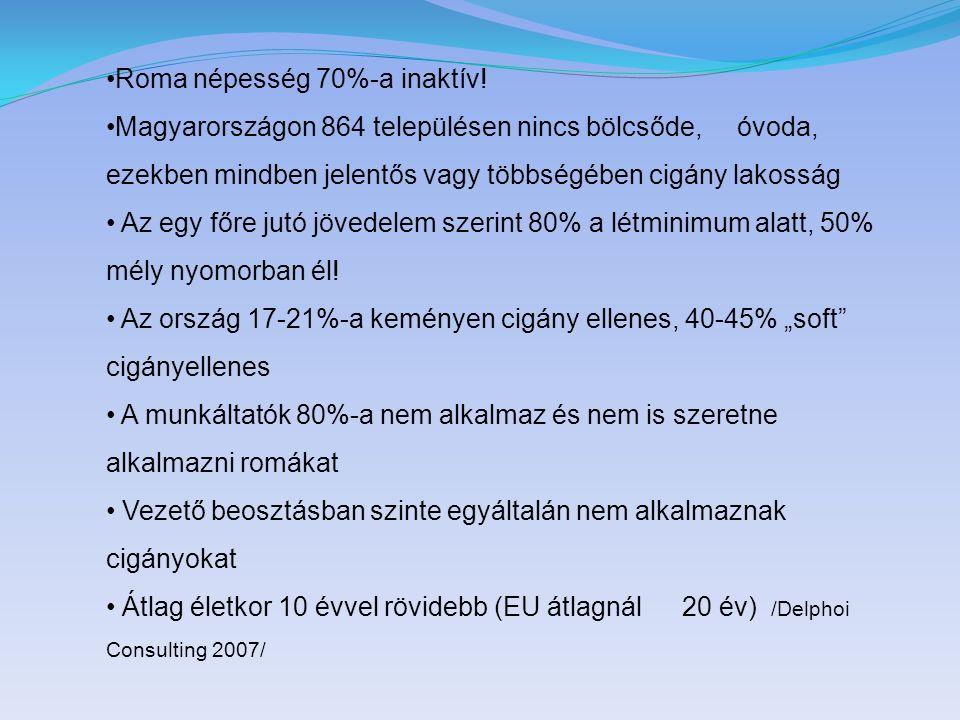 Roma népesség 70%-a inaktív! Magyarországon 864 településen nincs bölcsőde, óvoda, ezekben mindben jelentős vagy többségében cigány lakosság Az egy fő