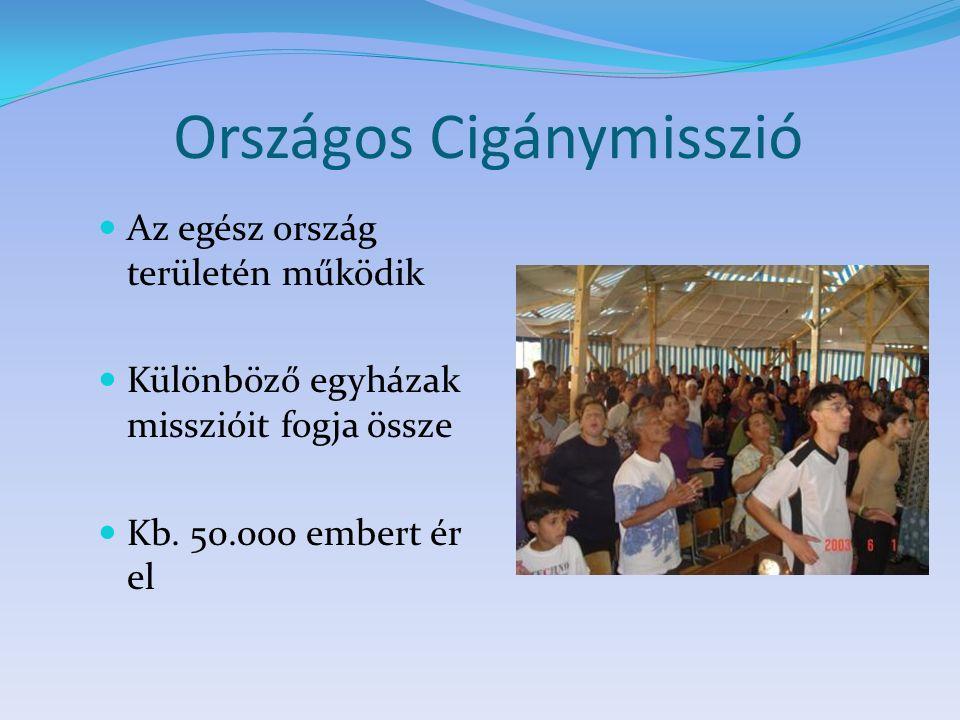 Országos Cigánymisszió Az egész ország területén működik Különböző egyházak misszióit fogja össze Kb. 50.000 embert ér el