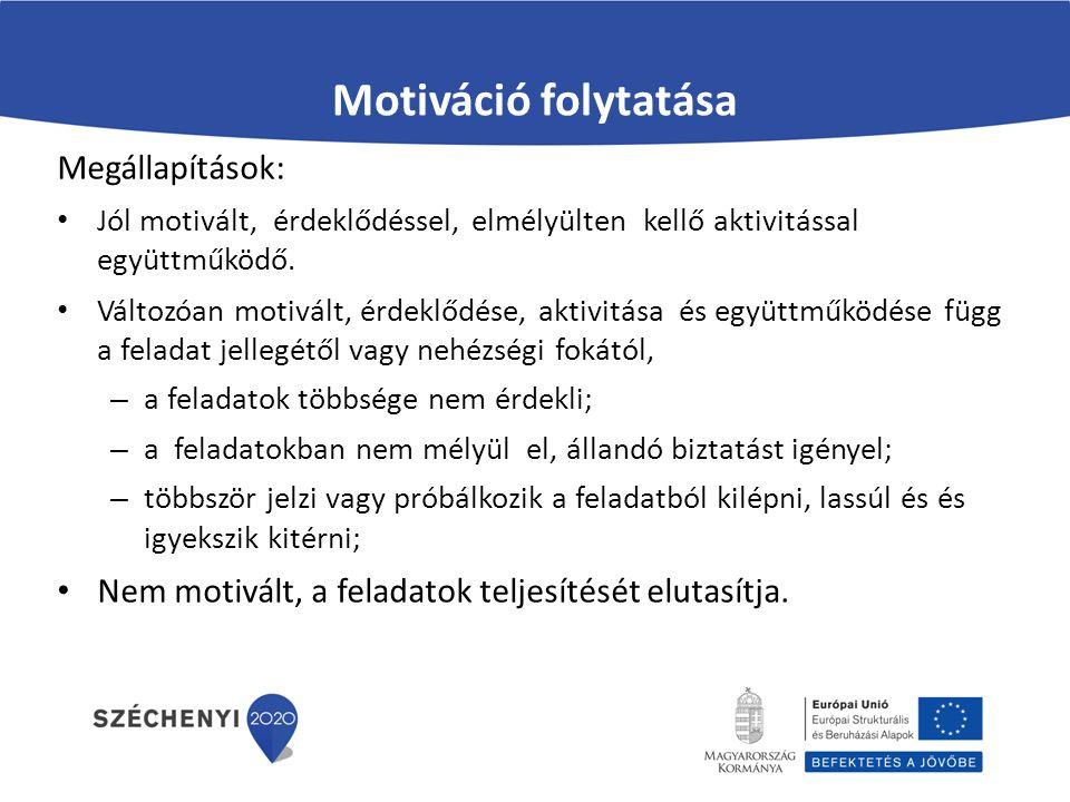 Motiváció folytatása Megállapítások: Jól motivált, érdeklődéssel, elmélyülten kellő aktivitással együttműködő.