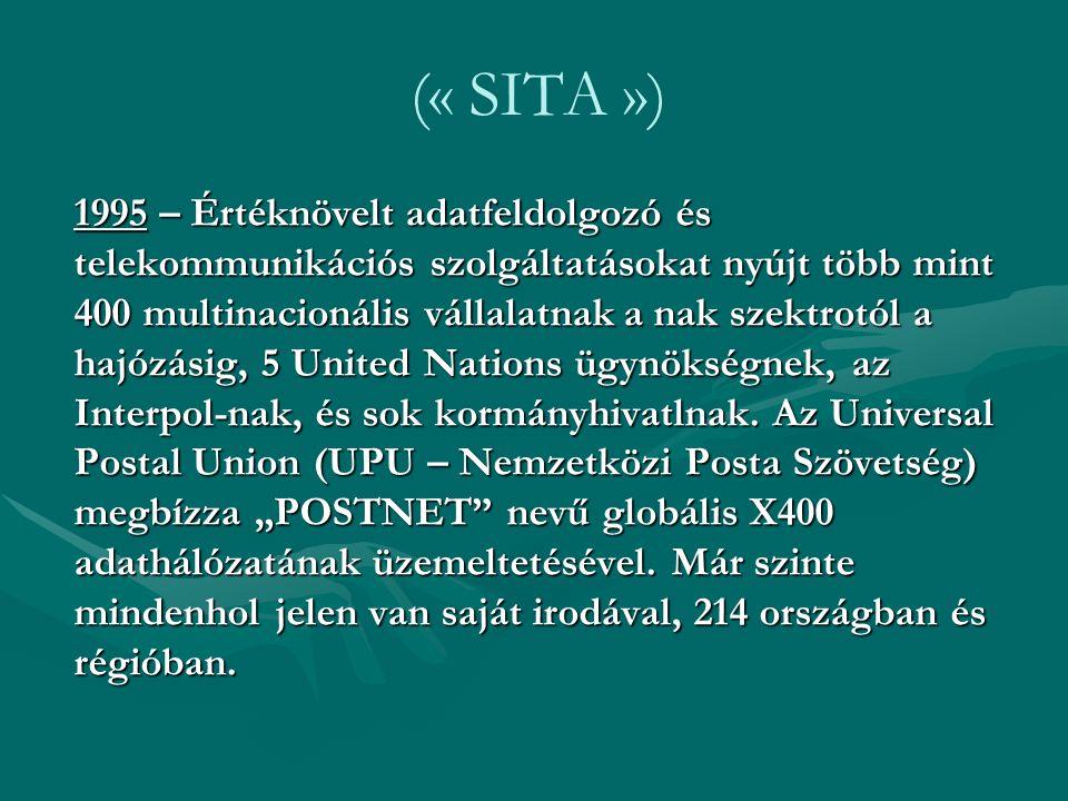 (« SITA ») 1995 – Értéknövelt adatfeldolgozó és telekommunikációs szolgáltatásokat nyújt több mint 400 multinacionális vállalatnak a nak szektrotól a