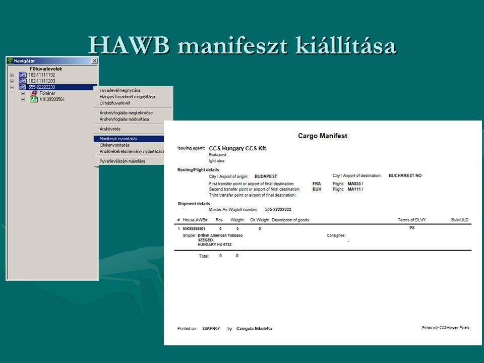 HAWB manifeszt kiállítása