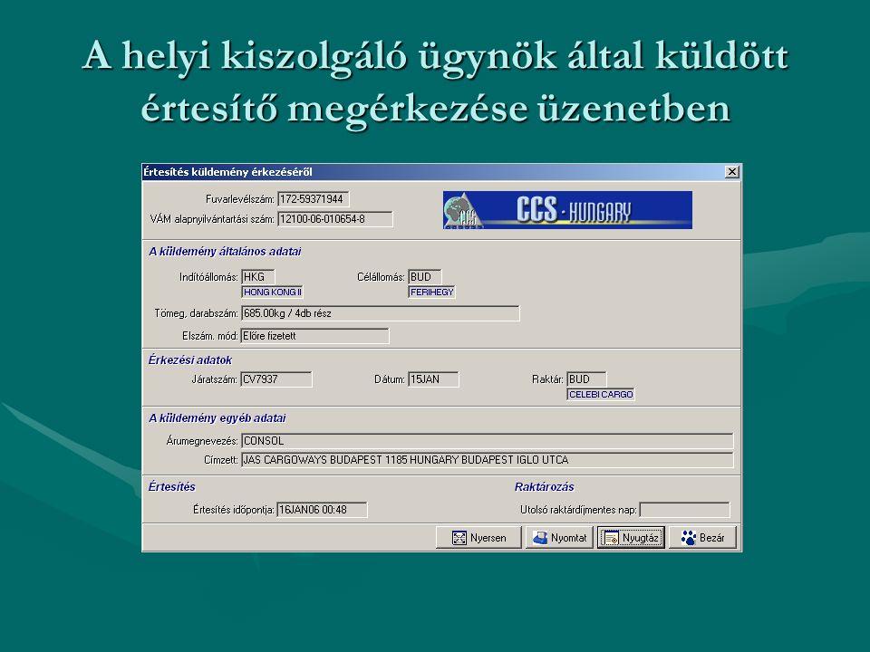 A helyi kiszolgáló ügynök által küldött értesítő megérkezése üzenetben