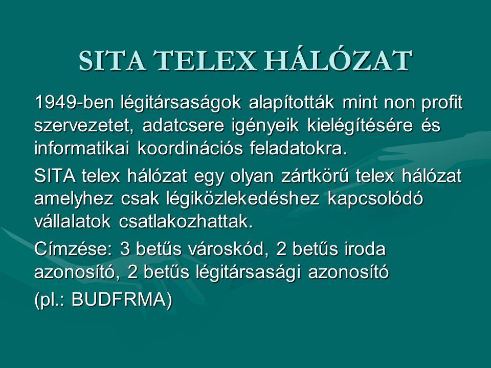 SITA TELEX HÁLÓZAT 1949-ben légitársaságok alapították mint non profit szervezetet, adatcsere igényeik kielégítésére és informatikai koordinációs fela