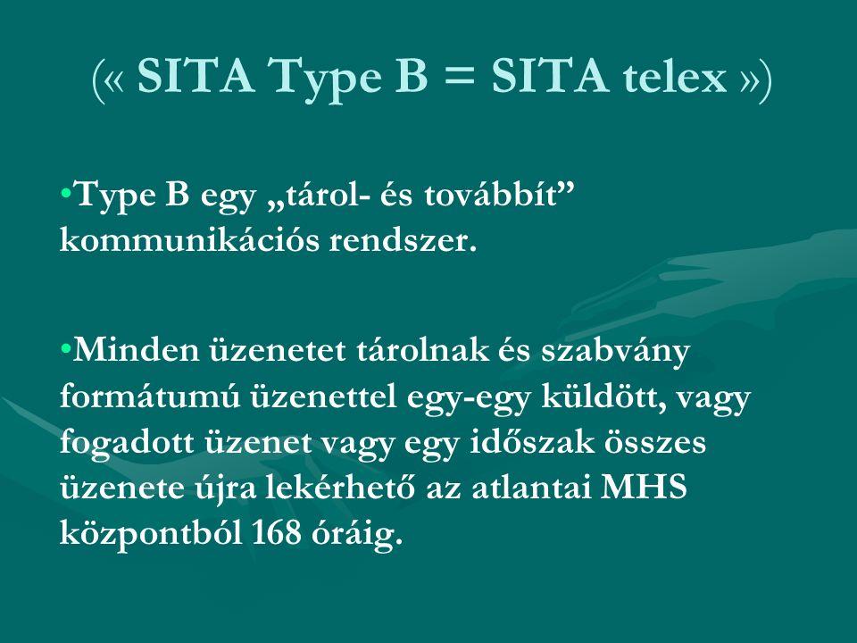 """(« SITA Type B = SITA telex ») Type B egy """"tárol- és továbbít"""" kommunikációs rendszer. Minden üzenetet tárolnak és szabvány formátumú üzenettel egy-eg"""