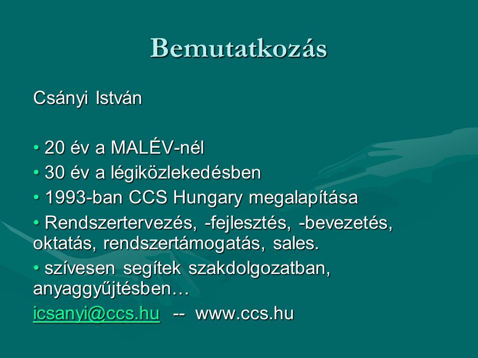 Bemutatkozás Csányi István 20 év a MALÉV-nél 20 év a MALÉV-nél 30 év a légiközlekedésben 30 év a légiközlekedésben 1993-ban CCS Hungary megalapítása 1