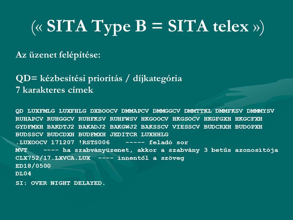 (« SITA Type B = SITA telex ») Az üzenet felépítése: QD= kézbesítési prioritás / díjkategória 7 karakteres címek QD LUXFMLG LUXFHLG DXBOOCV DMMAPCV DM