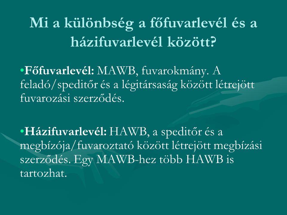 Mi a különbség a főfuvarlevél és a házifuvarlevél között? Főfuvarlevél: MAWB, fuvarokmány. A feladó/speditőr és a légitársaság között létrejött fuvaro