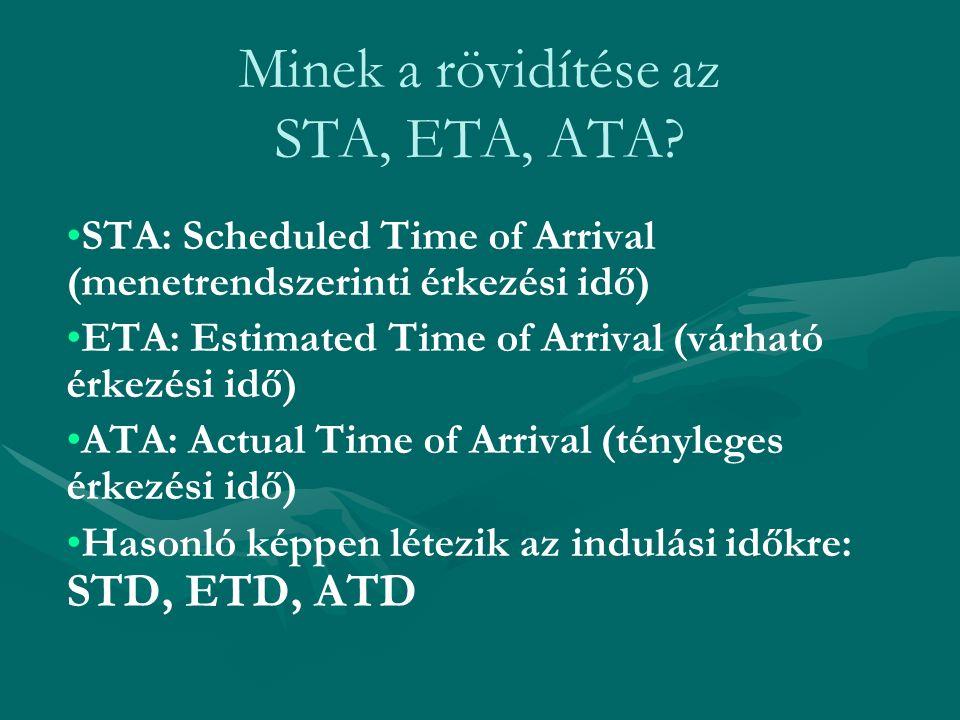Minek a rövidítése az STA, ETA, ATA? STA: Scheduled Time of Arrival (menetrendszerinti érkezési idő) ETA: Estimated Time of Arrival (várható érkezési