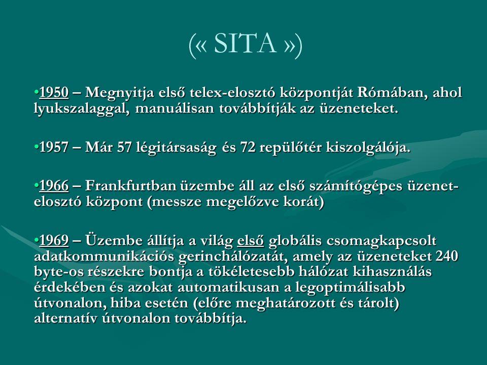 (« SITA ») 1950 – Megnyitja első telex-elosztó központját Rómában, ahol lyukszalaggal, manuálisan továbbítják az üzeneteket.1950 – Megnyitja első tele