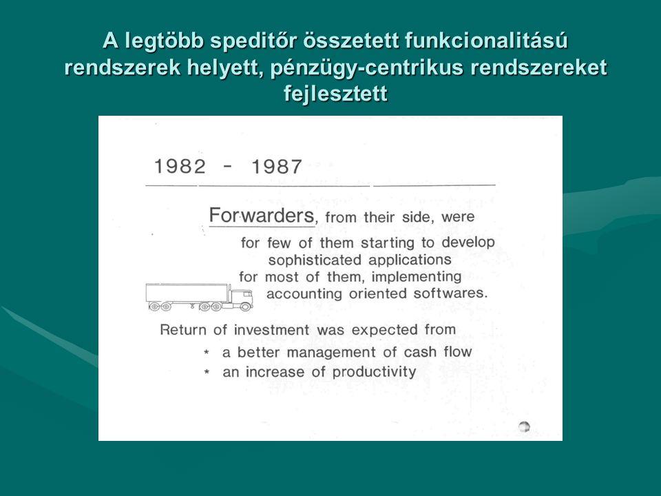 A legtöbb speditőr összetett funkcionalitású rendszerek helyett, pénzügy-centrikus rendszereket fejlesztett