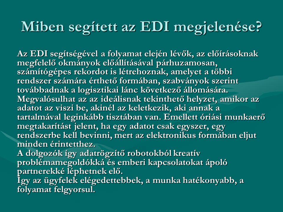 Miben segített az EDI megjelenése? Az EDI segítségével a folyamat elején lévők, az előírásoknak megfelelő okmányok előállításával párhuzamosan, számít