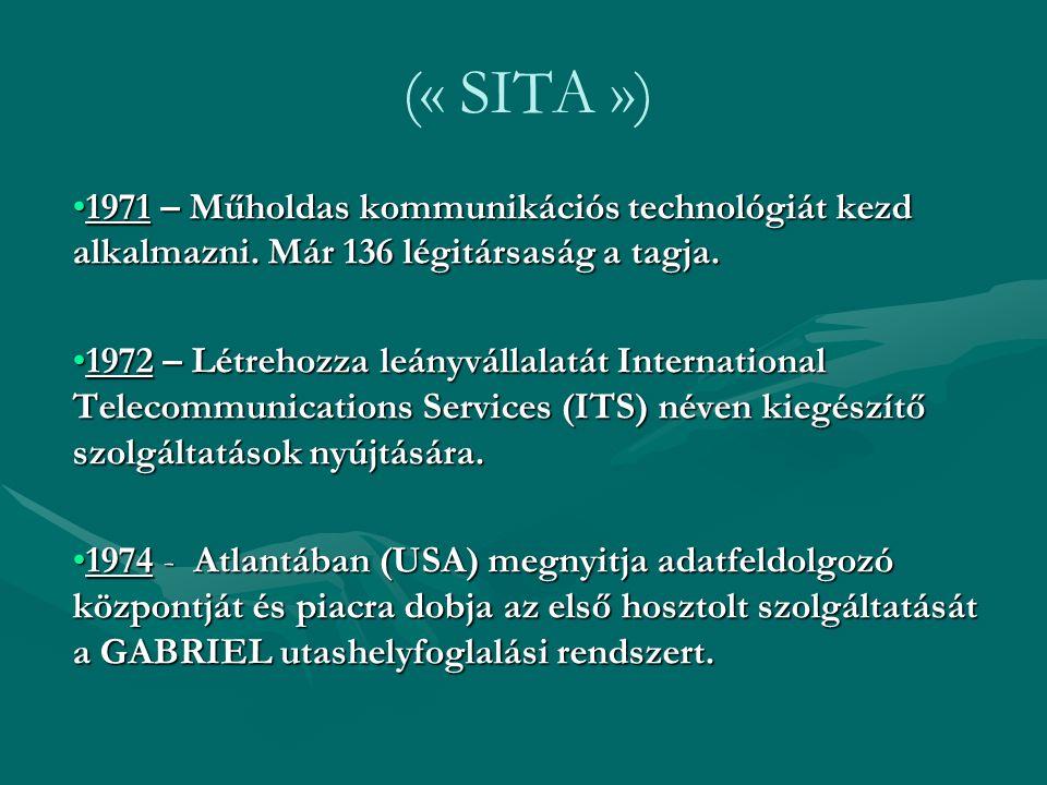 (« SITA ») 1971 – Műholdas kommunikációs technológiát kezd alkalmazni. Már 136 légitársaság a tagja.1971 – Műholdas kommunikációs technológiát kezd al
