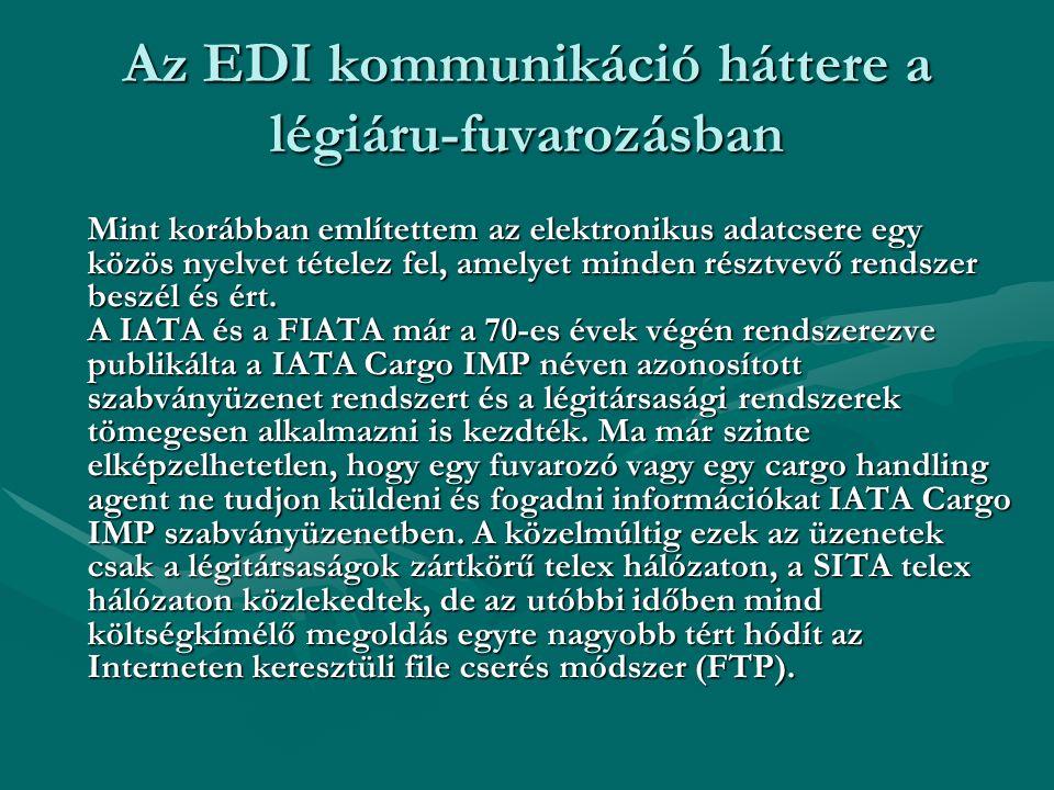Az EDI kommunikáció háttere a légiáru-fuvarozásban Mint korábban említettem az elektronikus adatcsere egy közös nyelvet tételez fel, amelyet minden ré