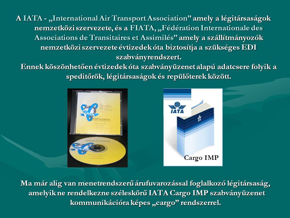 Ma már alig van menetrendszerű árufuvarozással foglalkozó légitársaság, amelyik ne rendelkezne széleskörű IATA Cargo IMP szabványüzenet kommunikációra