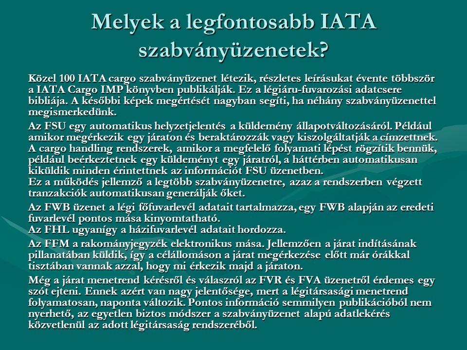 Melyek a legfontosabb IATA szabványüzenetek? Közel 100 IATA cargo szabványüzenet létezik, részletes leírásukat évente többször a IATA Cargo IMP könyvb