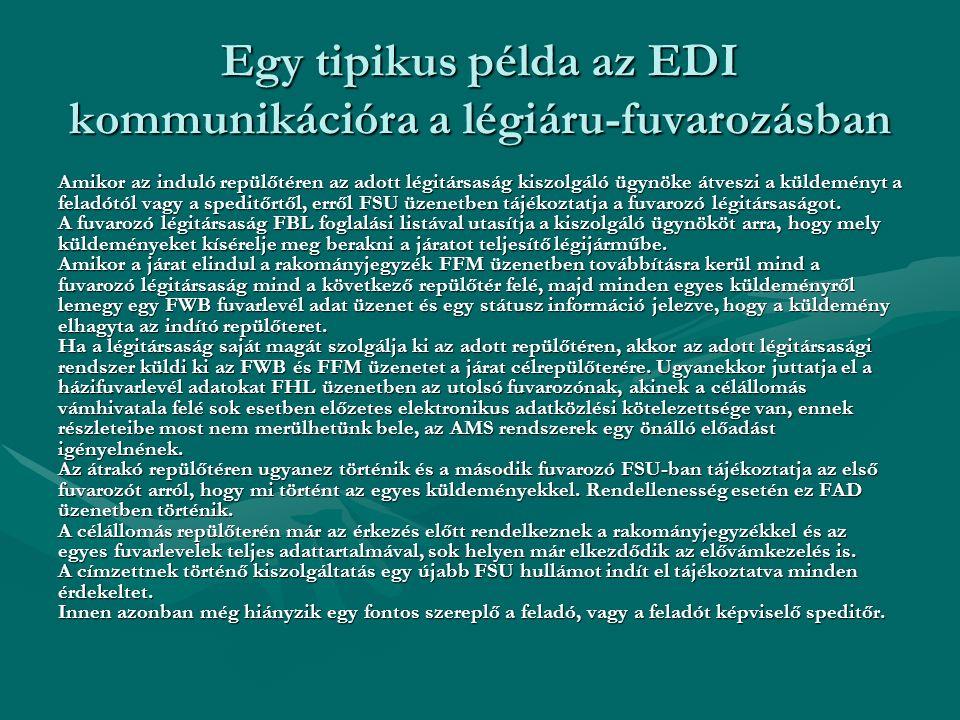 Egy tipikus példa az EDI kommunikációra a légiáru-fuvarozásban Amikor az induló repülőtéren az adott légitársaság kiszolgáló ügynöke átveszi a küldemé